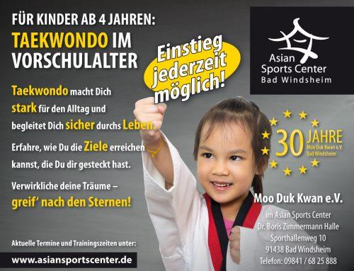 Neuer Anfängerkurs 2020: Taekwondo für Vorschulkinder